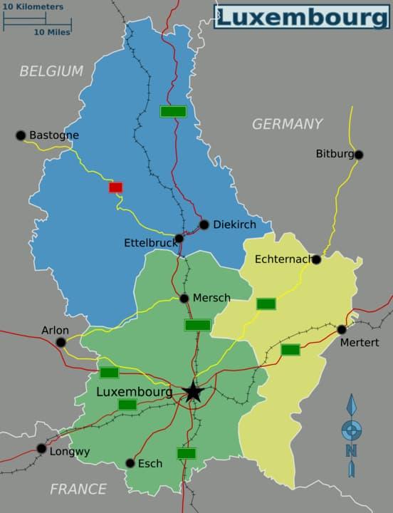 Bản đồ vị trí của Luxembourg