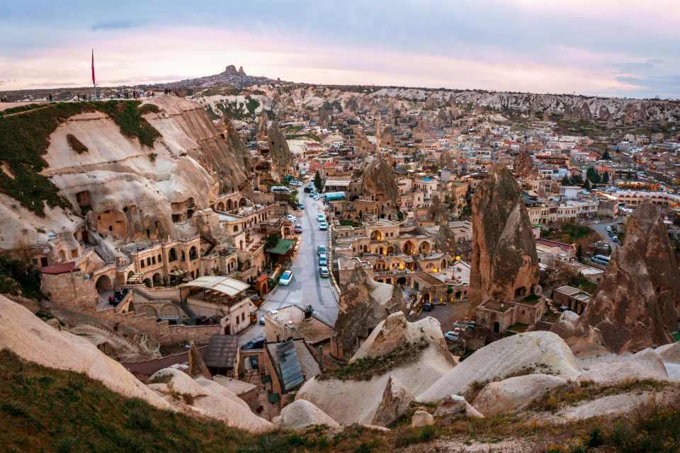 Landscape of Goreme sunset view point . Cappadocia. Nevsehir Province. Turkey.