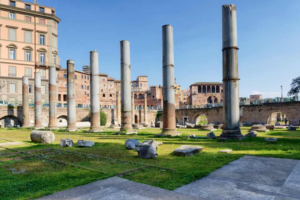 The columns of the Trajan Forum and in the background the Forum of Caesar. In the Roman forums in Rome, Italy.