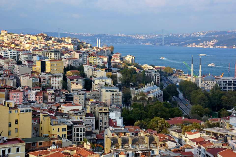 Istanbul old city skyline,View and sight of Bosphorus,Topkapi Palace, Fatih, Istanbul, Turkey
