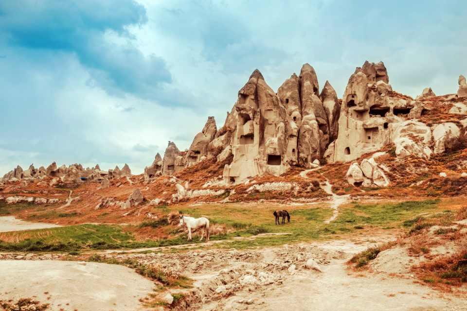 Landscape of Goreme fairy chimneys , Cappadocia. Nevsehir Province. Turkey.